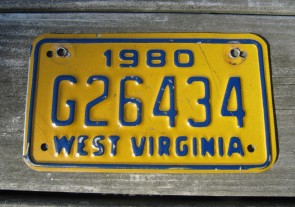 West Virginia Motorcycle License Plate Yellow Blue 1980