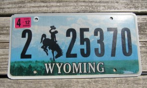 Wyoming Bucking Horse License Plate 2015 Truck Mountains