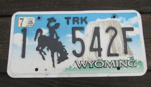Wyoming Devils Tower Truck License Plate 2005 1542F