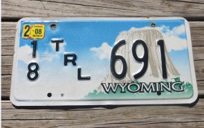Wyoming Devils Tower Trailer License Plate 2008