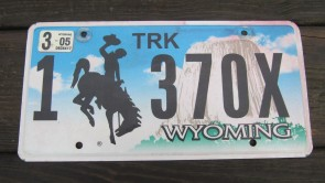 Wyoming Devils Tower Truck License Plate 2005