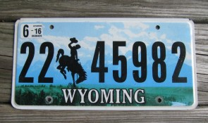 Wyoming Mountains License Plate Bucking Horse 2016