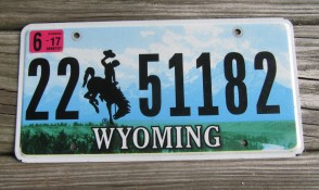 Wyoming Mountains License Plate Bucking Horse 2017