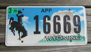 Wyoming Devils Tower Apportoned Truck License Plate 2009