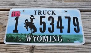 Wyoming Bucking Horse Truck License Plate 2017