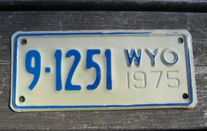 Wyoming Motorcycle License Plate 1975