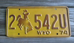 Wyoming Brown Yellow Bucking Horse License Plate 1974