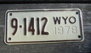 Wyoming Motorcycle License Plate 1978