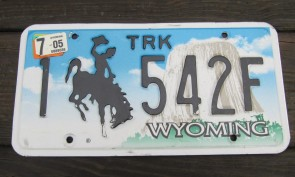 Wyoming Devils Tower Truck License Plate 2005 1542 F