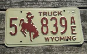 Wyoming Bucking Horse Truck License Plate 1978