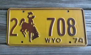 Wyoming Brown Yellow Bucking Horse License Plate 1974