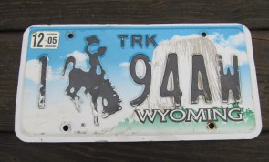 Wyoming Devils Tower Truck License Plate 2005 194AW