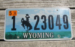 Wyoming Mountains License Plate Bucking Horse 2010