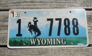 Wyoming Mountains License Plate Bucking Horse 2011