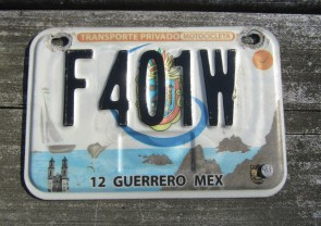 Guerrero Mexico Motorcycle License Plate