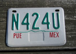 Puebla Mexico Motorcycle License Plate