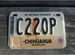 Chihuahua Mexico Motorcycle License Plate