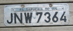 Brazil RS Sapucaia Do SUL License Plate 2000's