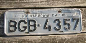 Brazil RS Sapucaia Do Sul Region License Plate 2000's